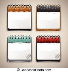calendario, collezione, icone