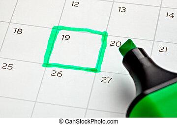 calendario, importante, marcato, anno