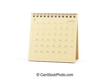 calendario, -, luglio, 2010