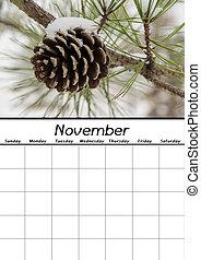 calendario, novembre, vuoto