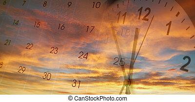 calendario, orologio, cielo