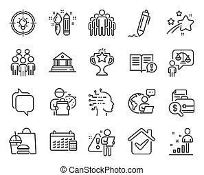 calendario, persone, gruppo, set., icone, vettore, icona, signs., included, educazione, avvocato