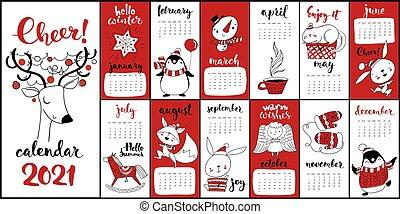 Natale 2021 Calendario.Calendario Rosso Simboli 2021 Cartone Animato Natale Vettore Colorare Calendario Rosso Simboli 2021 Divertente Canstock