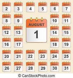 calendario, set, agosto, icone