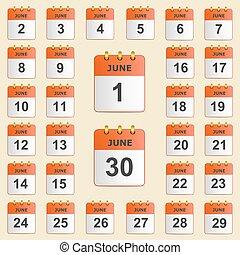 calendario, set, giugno, icone
