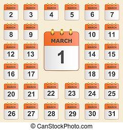 calendario, set, marzo, icone