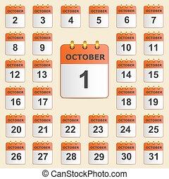 calendario, set, ottobre, icone