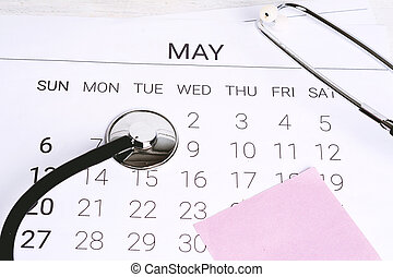 calendario, stethoscope.