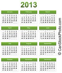 calendario, verde, 2013
