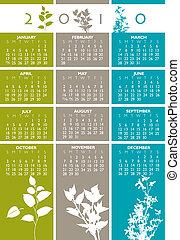 calendario, vettore, 2010