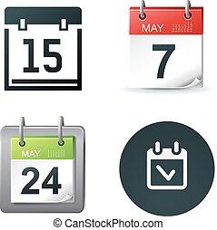 calendario, vettore, illustrazione, icone