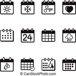 calendario, vettore, set, illustrazione, icone