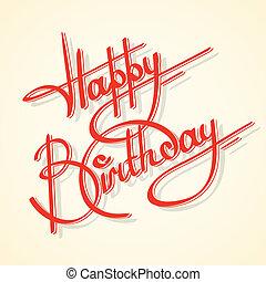 calligrafia, compleanno, felice