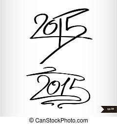 calligraphic, acquarello, anno, 2015, nuovo, scritto mano, felice