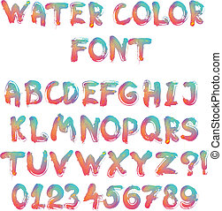 calligraphic, alfabeto, acquarello, scritto mano