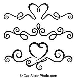 calligraphic, elementi, floreale