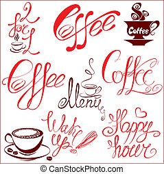 calligraphic, o, felice, su, set, schizzo, mano, stilizzato, design., icone, simboli, text:, hour., elementi, caffè, scia, campanelle, disegnato, caffè, caffè, menu, ristorante