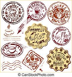 calligraphic, o, -, testi, schizzo, mano, stilizzato, icone, simboli, elementi, caffè, set., campanelle, disegno, disegnato, affrancatura, collezione, caffè, ristorante, timbri
