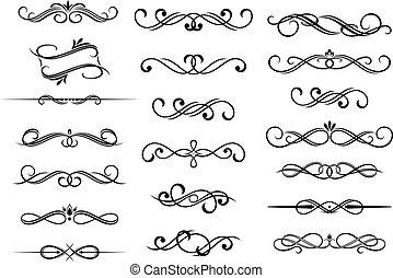 calligraphic, set, elementi, bordo