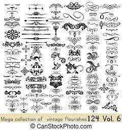 calligraphic, vettore, collezione, elementi, disegno, decorazioni, tuo, pagina