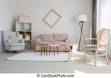 calmante, vivente, decorazione, stanza