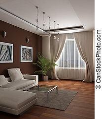 calore, cosiness, ospite, moderno, disegno, sensazione, rendering., stanza, 3d