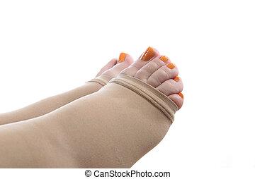calza, compressione, piedi