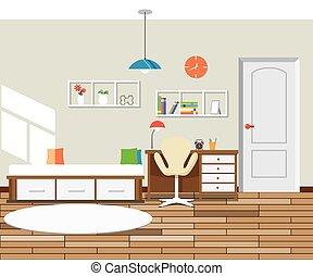 camera letto, moderno, disegno, appartamento, interno