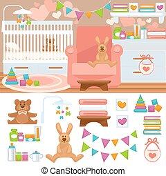 camera letto, vivaio, infanzia, interior.