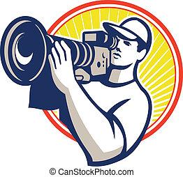 cameraman, equipaggio, macchina fotografica, video, film, hd