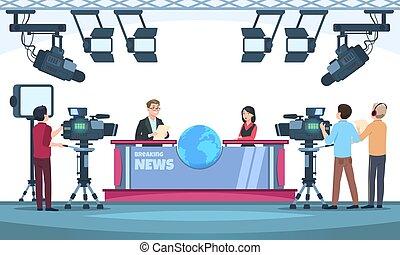 cameraman, mostra, macchina fotografica tv, persone, illustrazione, radiodiffusione, parlare, vettore, notizie, presentatori, television., studio.