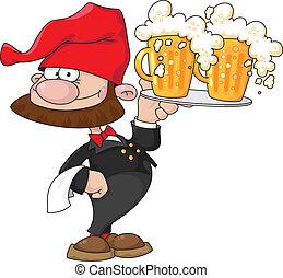 cameriere, birra, gnomo