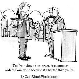 cameriere, porta, strada, giù, vino
