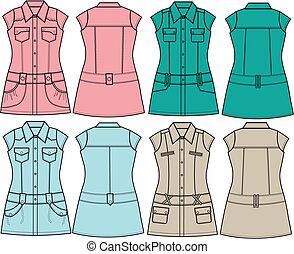 camicetta, signora, moda, tunica