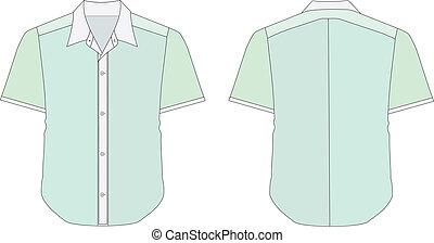 camicia, colorare, verde, toni, vestire, colletto