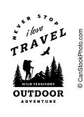 camicia, t, wildlife., fondo, manifesto, disegno, viaggiatore, quotes., silhouette