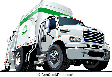 camion, cartone animato, immondizia