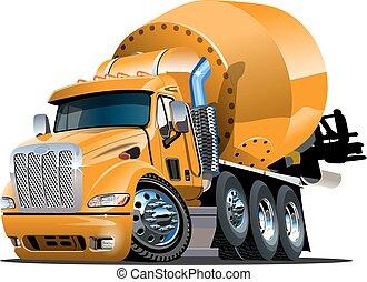 camion, cartone animato, miscelatore