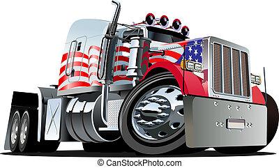 camion, cartone animato, semi