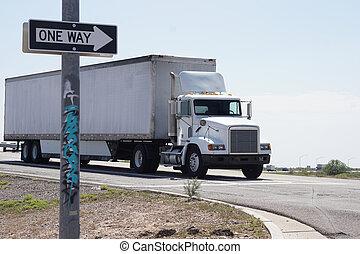 camion, entrare, autostrada