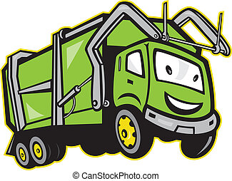 camion, immondizia, rifiuti, cartone animato