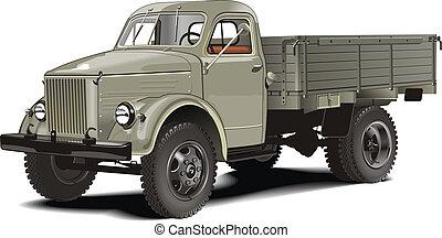 camion, isolato, retro