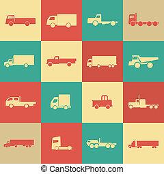 camion, retro, trasporto, icone