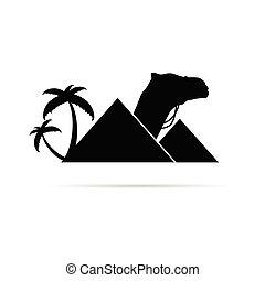 cammello, piramide, illustrazione, monumento
