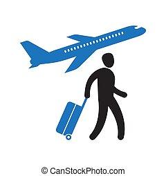 camminare, aeroporto, turista, valigia