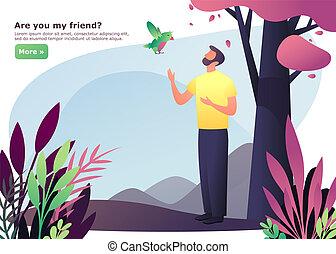 camminare, albero, o, foresta legno, uomo uccello