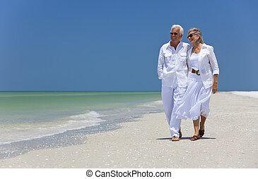 camminare, ballo, coppia, tropicale, anziano, spiaggia, felice