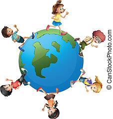 camminare, bambini, intorno, sei, terra pianeta