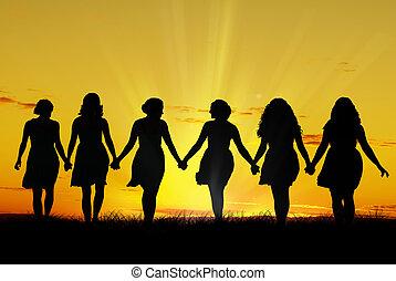 camminare, donne, mano