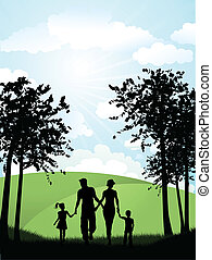 camminare, esterno, famiglia